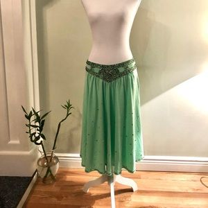 Sweet by Miss Me Sequined midi green skirt Size M